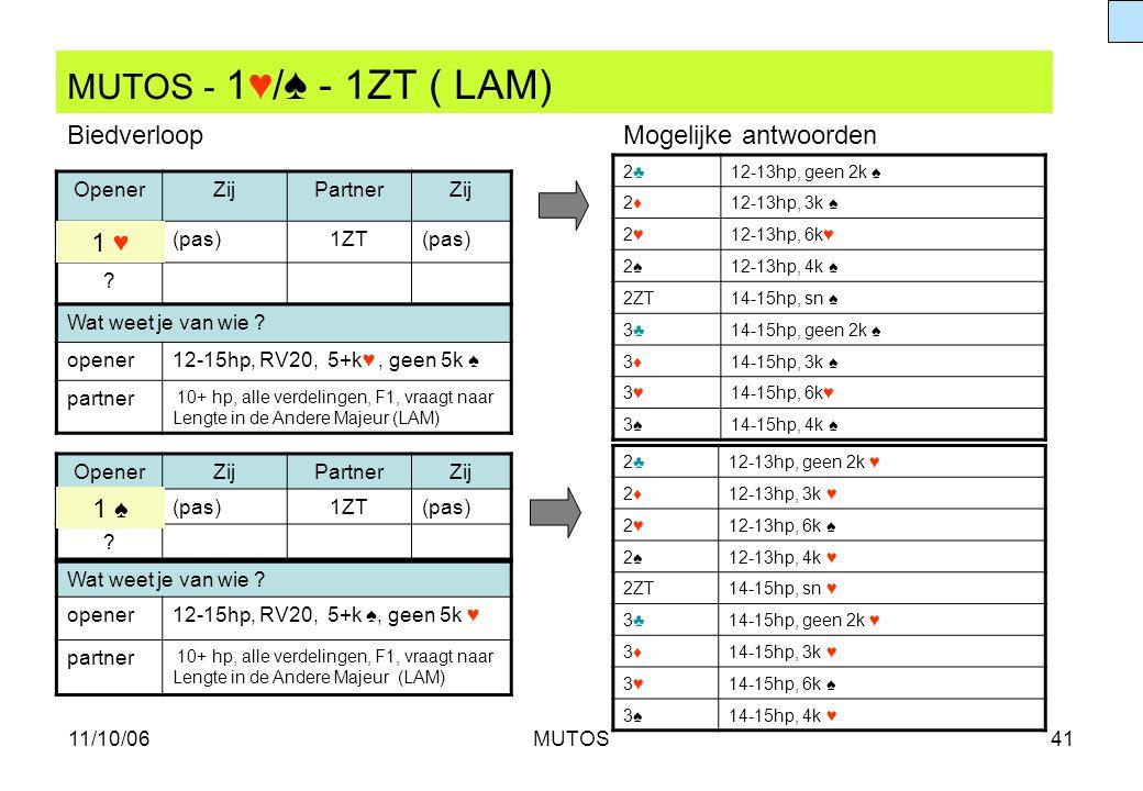 11/10/06MUTOS41 MUTOS - 1♥/ ♠ - 1ZT ( LAM) OpenerZijPartnerZij (pas)1ZT(pas) ? 2♣2♣12-13hp, geen 2k ♠ 2♦2♦12-13hp, 3k ♠ 2♥2♥12-13hp, 6k♥ 2♠2♠12-13hp,