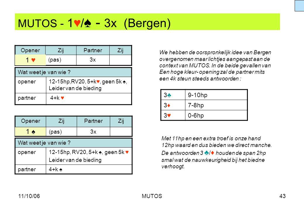11/10/06MUTOS43 MUTOS - 1♥/ ♠ - 3x (Bergen) OpenerZijPartnerZij (pas)3x 3♣3♣9-10hp 3♦3♦7-8hp 3♥3♥0-6hp Wat weet je van wie ? opener12-15hp,RV20, 5+k♥,