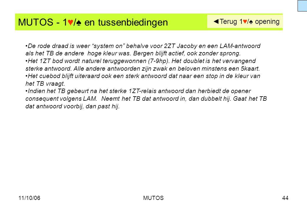 """11/10/06MUTOS44 MUTOS - 1♥/♠ en tussenbiedingen De rode draad is weer """"system on"""" behalve voor 2ZT Jacoby en een LAM-antwoord als het TB de andere hog"""
