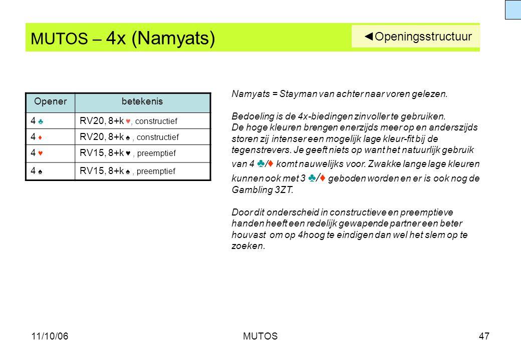 11/10/06MUTOS47 MUTOS – 4x (Namyats) Openerbetekenis 4 ♣ RV20, 8+k ♥, constructief 4 ♦ RV20, 8+k ♠, constructief 4 ♥ RV15, 8+k ♥, preemptief 4 ♠ RV15,
