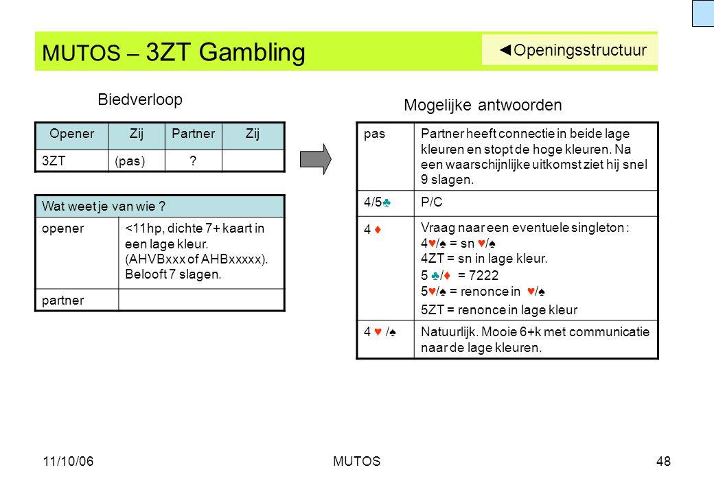 11/10/06MUTOS48 MUTOS – 3ZT Gambling Wat weet je van wie ? opener<11hp, dichte 7+ kaart in een lage kleur. (AHVBxxx of AHBxxxxx). Belooft 7 slagen. pa