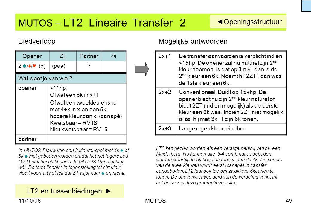 11/10/06MUTOS49 MUTOS – LT2 Lineaire Transfer 2 Wat weet je van wie ? opener<11hp, Ofwel een 6k in x+1 Ofwel een tweekleurenspel met 4+k in x en een 5