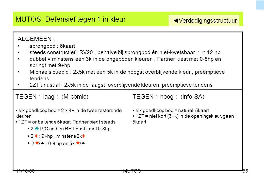 11/10/06MUTOS56 MUTOS Defensief tegen 1 in kleur TEGEN 1 laag : (M-comic) elk goedkoop bod = 2 x 4+ in de twee resterende kleuren 1ZT = onbekende 5kaa