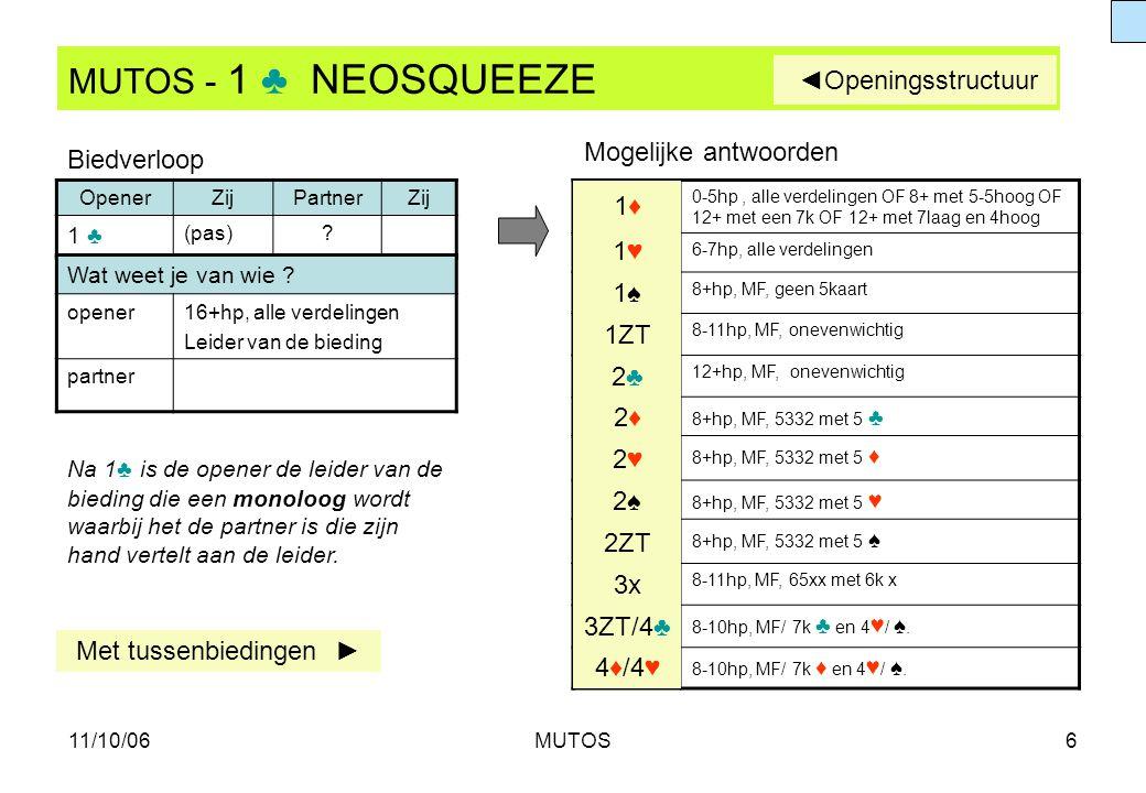 11/10/06MUTOS6 MUTOS - 1 ♣ NEOSQUEEZE OpenerZijPartnerZij 1 ♣ (pas)? 0-5hp, alle verdelingen OF 8+ met 5-5hoog OF 12+ met een 7k OF 12+ met 7laag en 4