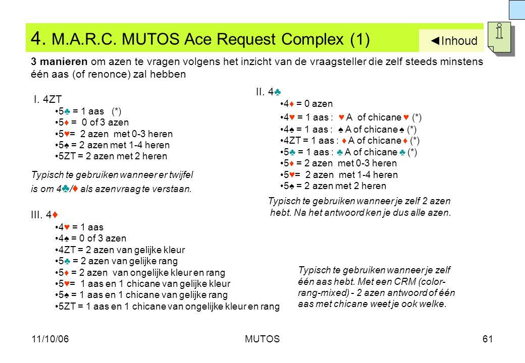 11/10/06MUTOS61 4. M.A.R.C. MUTOS Ace Request Complex (1) I. 4ZT 5♣ = 1 aas (*) 5♦ = 0 of 3 azen 5♥= 2 azen met 0-3 heren 5♠ = 2 azen met 1-4 heren 5Z