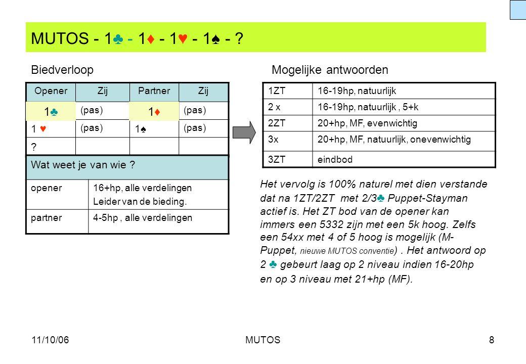 11/10/06MUTOS8 MUTOS - 1♣ - 1♦ - 1♥ - 1♠ - ? OpenerZijPartnerZij (pas) 1♦1♦ 1 ♥ (pas) 1♠1♠ ? 1ZT16-19hp, natuurlijk 2 x16-19hp, natuurlijk, 5+k 2ZT20+