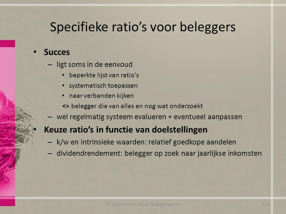 Specifieke ratio's voor beleggers Succes – ligt soms in de eenvoud beperkte lijst van ratio's systematisch toepassen naar verbanden kijken <> belegger