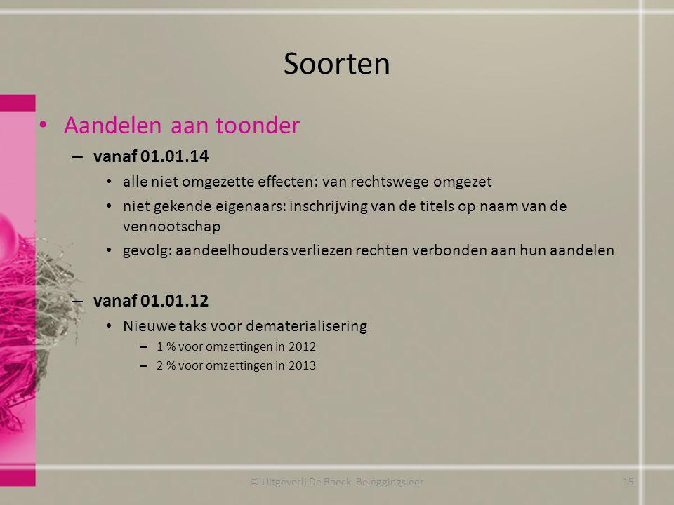 Soorten Aandelen aan toonder – vanaf 01.01.14 alle niet omgezette effecten: van rechtswege omgezet niet gekende eigenaars: inschrijving van de titels