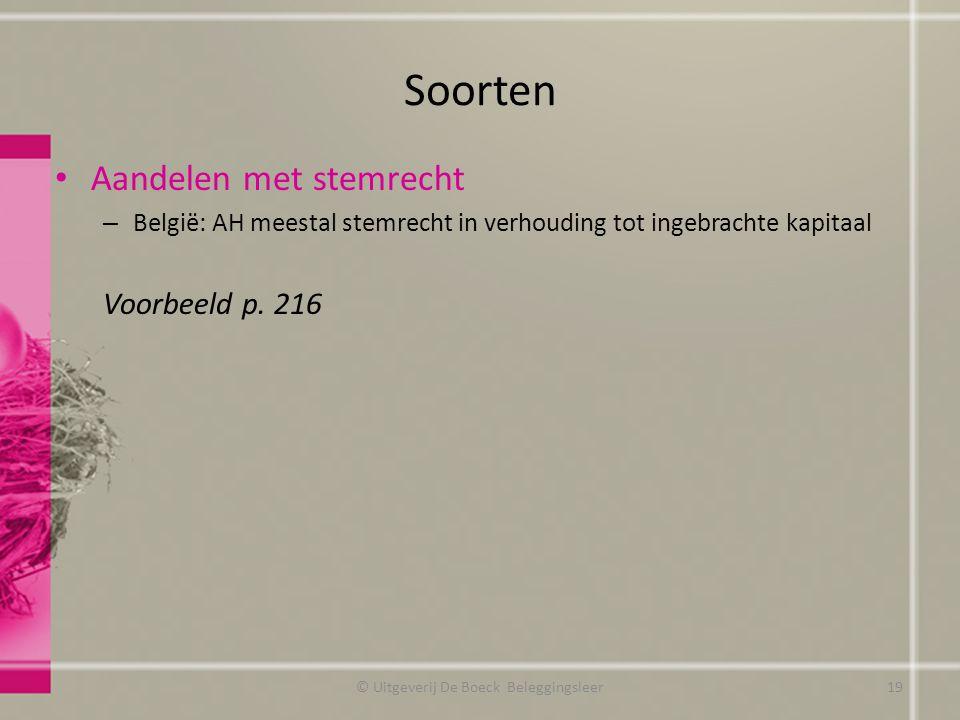 Soorten Aandelen met stemrecht – België: AH meestal stemrecht in verhouding tot ingebrachte kapitaal Voorbeeld p. 216 © Uitgeverij De Boeck Beleggings