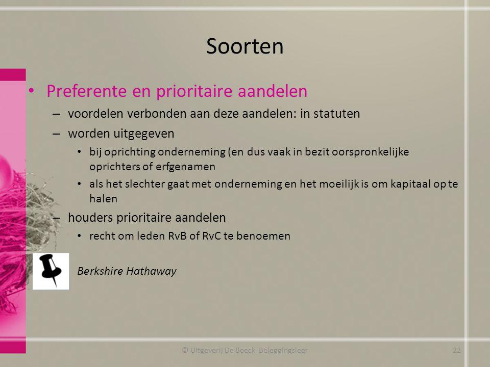 Soorten Preferente en prioritaire aandelen – voordelen verbonden aan deze aandelen: in statuten – worden uitgegeven bij oprichting onderneming (en dus