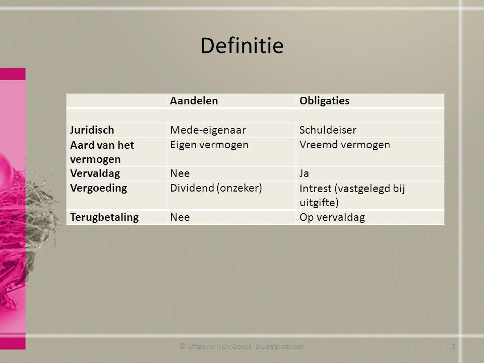 Definitie © Uitgeverij De Boeck Beleggingsleer AandelenObligaties JuridischMede-eigenaarSchuldeiser Aard van het vermogen Eigen vermogenVreemd vermoge