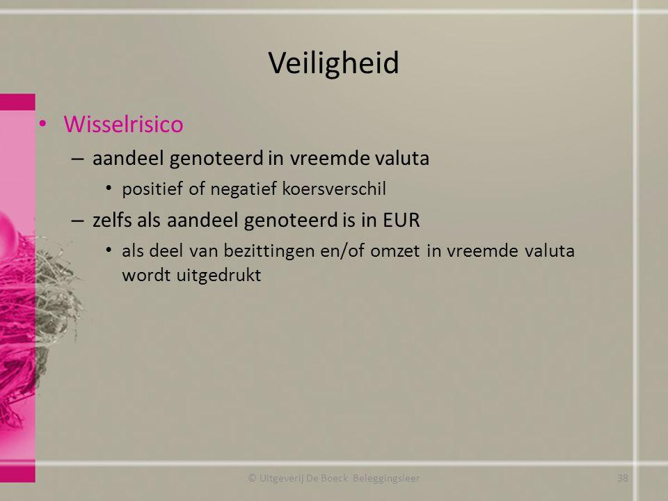Veiligheid Wisselrisico – aandeel genoteerd in vreemde valuta positief of negatief koersverschil – zelfs als aandeel genoteerd is in EUR als deel van