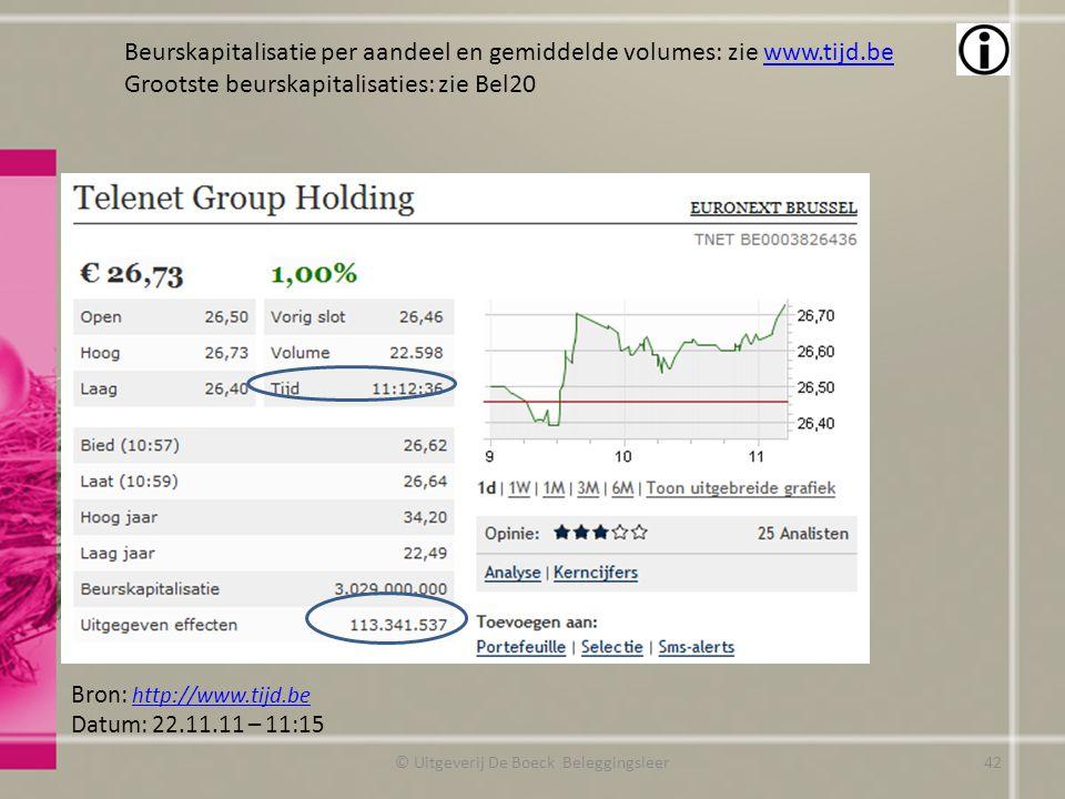 © Uitgeverij De Boeck Beleggingsleer Bron: http://www.tijd.be http://www.tijd.be Datum: 22.11.11 – 11:15 Beurskapitalisatie per aandeel en gemiddelde