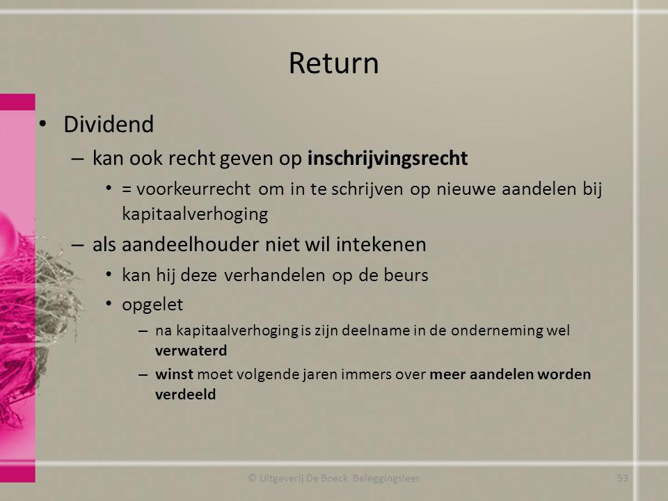 Return Dividend – kan ook recht geven op inschrijvingsrecht = voorkeurrecht om in te schrijven op nieuwe aandelen bij kapitaalverhoging – als aandeelh