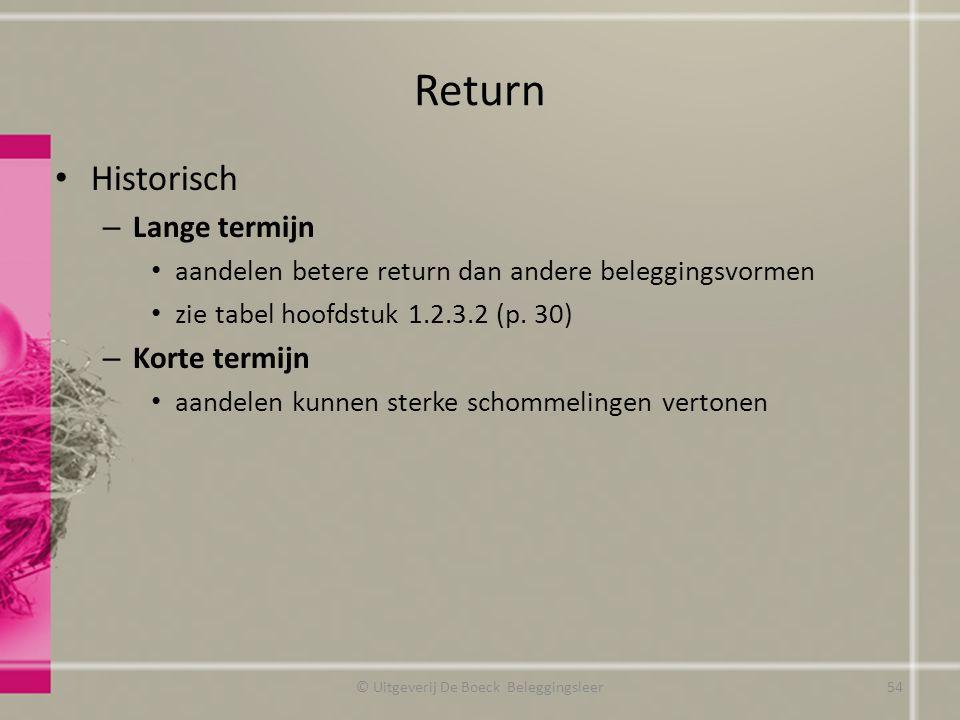 Return Historisch – Lange termijn aandelen betere return dan andere beleggingsvormen zie tabel hoofdstuk 1.2.3.2 (p. 30) – Korte termijn aandelen kunn