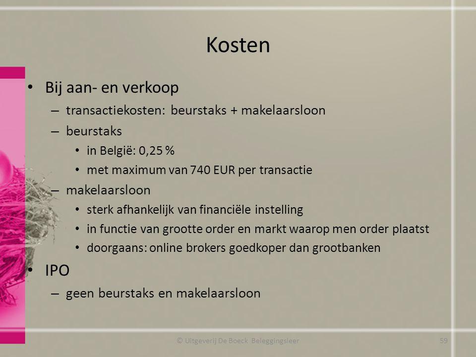 Kosten Bij aan- en verkoop – transactiekosten: beurstaks + makelaarsloon – beurstaks in België: 0,25 % met maximum van 740 EUR per transactie – makela