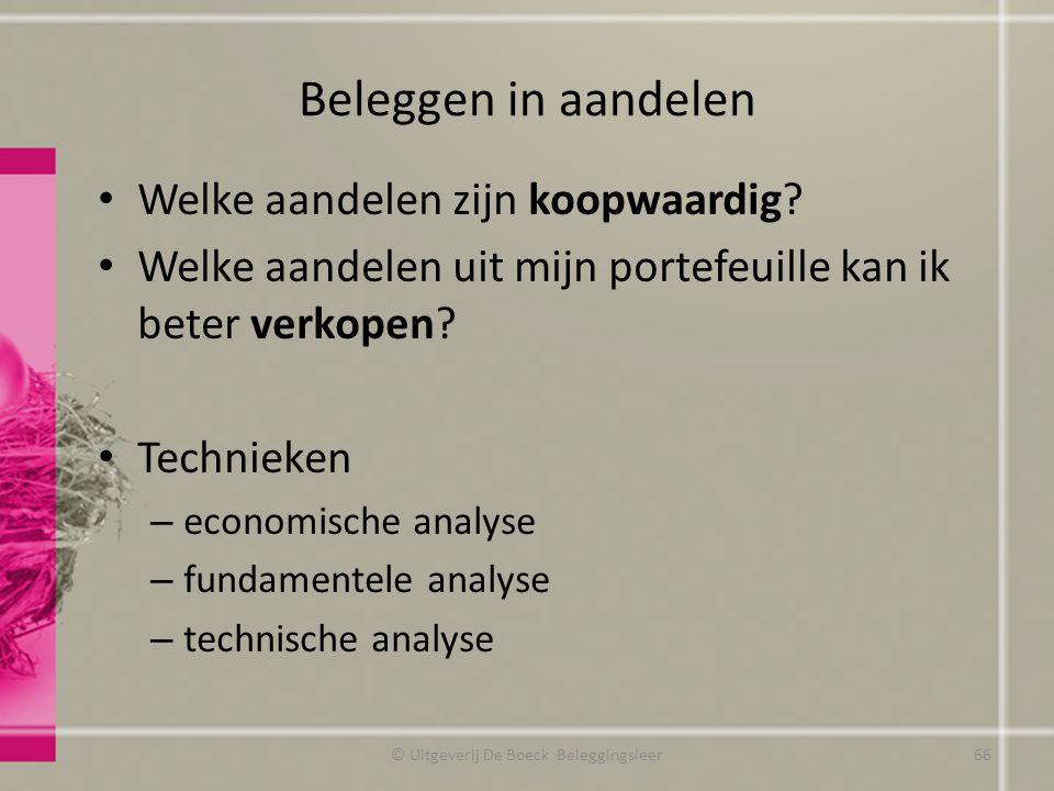 Beleggen in aandelen Welke aandelen zijn koopwaardig? Welke aandelen uit mijn portefeuille kan ik beter verkopen? Technieken – economische analyse – f