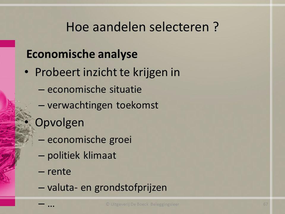 Hoe aandelen selecteren ? Economische analyse Probeert inzicht te krijgen in – economische situatie – verwachtingen toekomst Opvolgen – economische gr