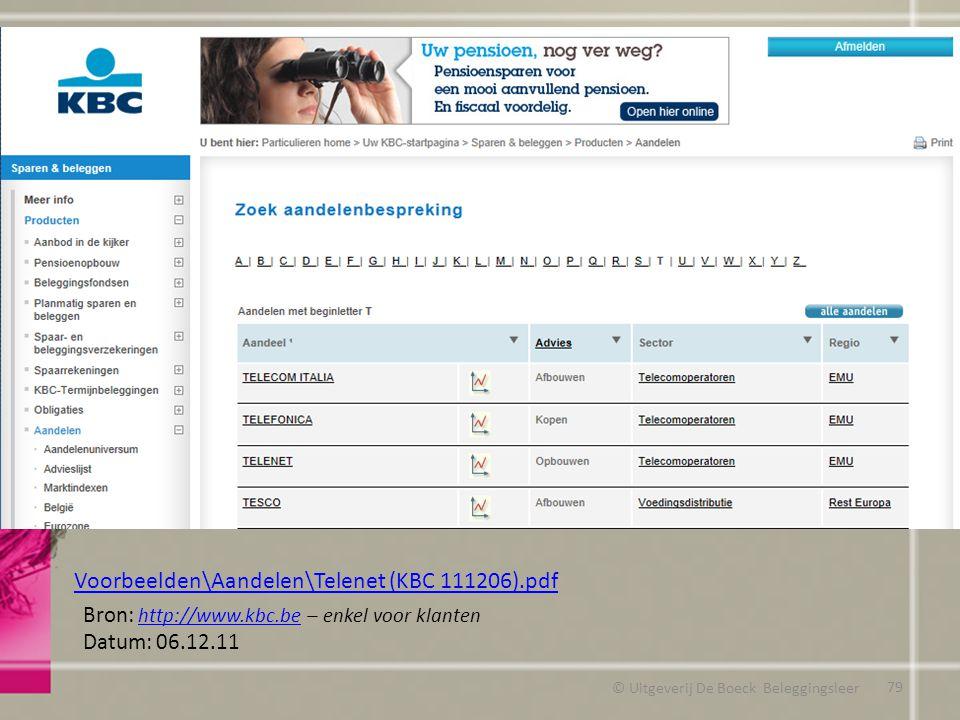 © Uitgeverij De Boeck Beleggingsleer Bron: http://www.kbc.be – enkel voor klanten http://www.kbc.be Datum: 06.12.11 Voorbeelden\Aandelen\Telenet (KBC