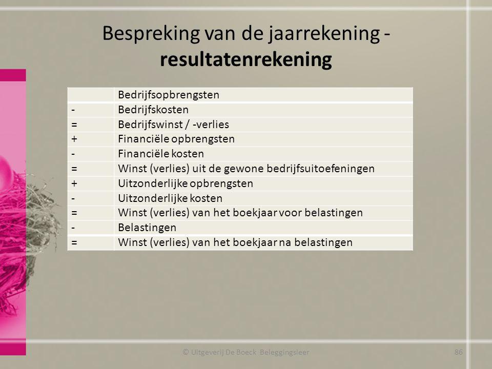 Bespreking van de jaarrekening - resultatenrekening © Uitgeverij De Boeck Beleggingsleer Bedrijfsopbrengsten -Bedrijfskosten =Bedrijfswinst / -verlies