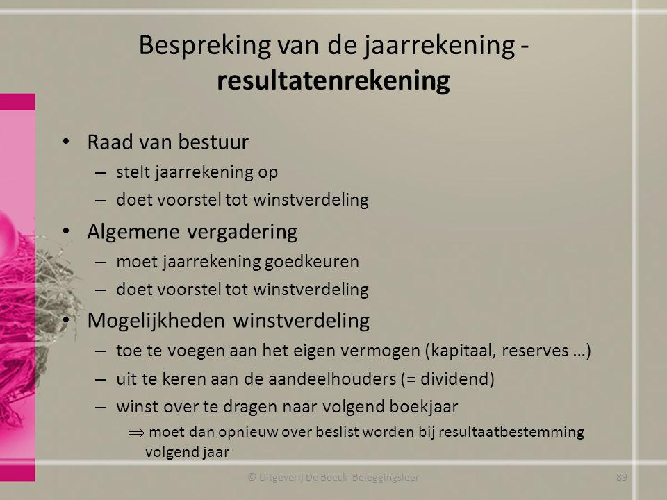 Bespreking van de jaarrekening - resultatenrekening Raad van bestuur – stelt jaarrekening op – doet voorstel tot winstverdeling Algemene vergadering –
