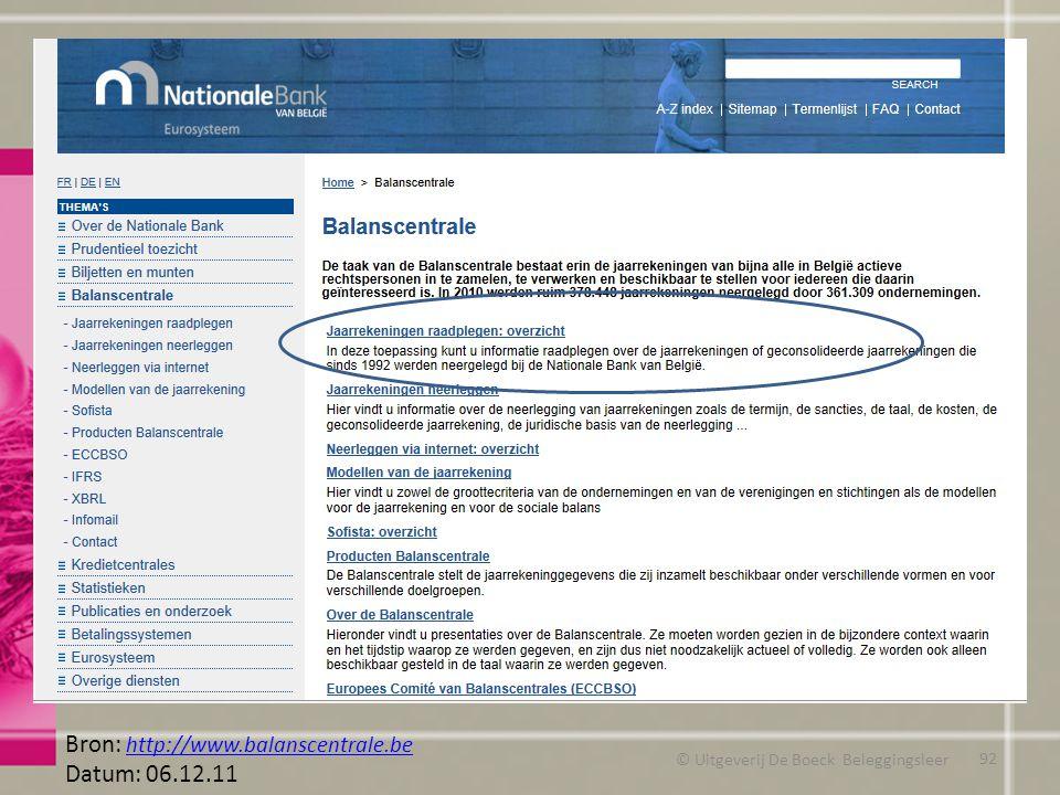 © Uitgeverij De Boeck Beleggingsleer Bron: http://www.balanscentrale.be http://www.balanscentrale.be Datum: 06.12.11 92