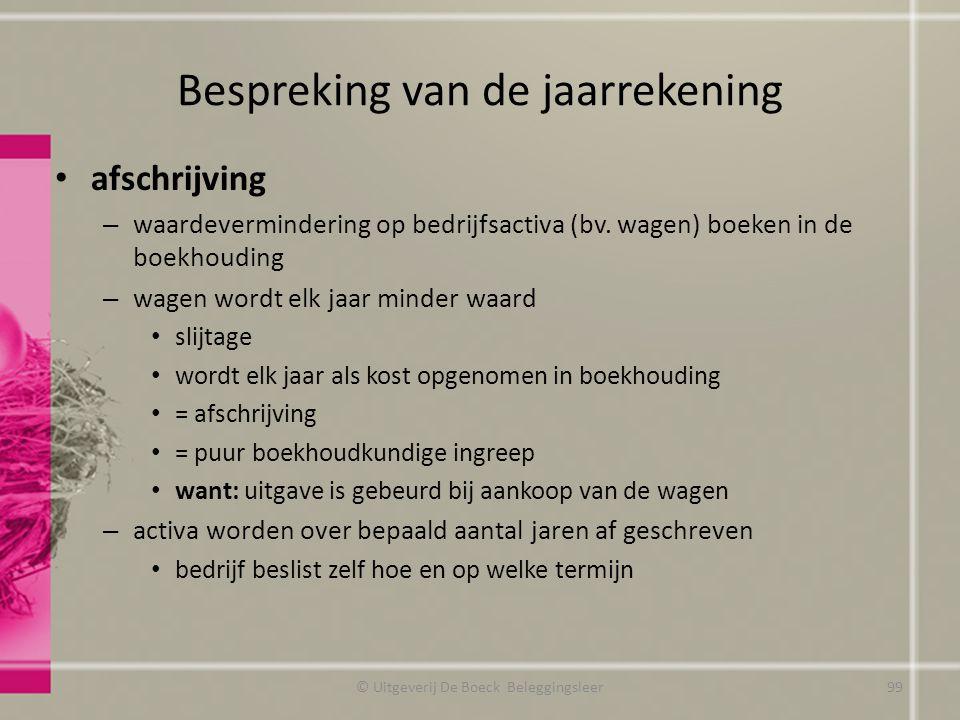 Bespreking van de jaarrekening afschrijving – waardevermindering op bedrijfsactiva (bv. wagen) boeken in de boekhouding – wagen wordt elk jaar minder
