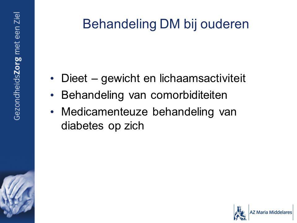 Behandeling DM bij ouderen Dieet – gewicht en lichaamsactiviteit Behandeling van comorbiditeiten Medicamenteuze behandeling van diabetes op zich
