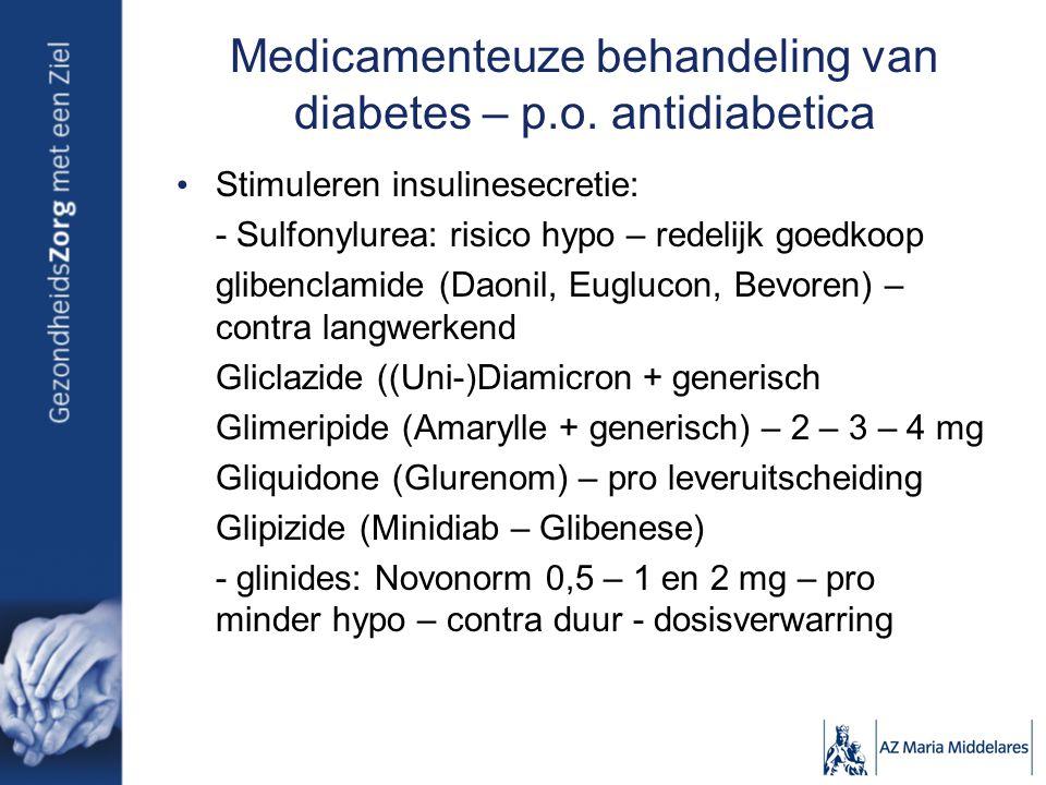 Medicamenteuze behandeling van diabetes – p.o. antidiabetica Stimuleren insulinesecretie: - Sulfonylurea: risico hypo – redelijk goedkoop glibenclamid