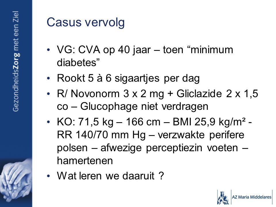 Casus vervolg VG: CVA op 40 jaar – toen minimum diabetes Rookt 5 à 6 sigaartjes per dag R/ Novonorm 3 x 2 mg + Gliclazide 2 x 1,5 co – Glucophage niet verdragen KO: 71,5 kg – 166 cm – BMI 25,9 kg/m² - RR 140/70 mm Hg – verzwakte perifere polsen – afwezige perceptiezin voeten – hamertenen Wat leren we daaruit ?