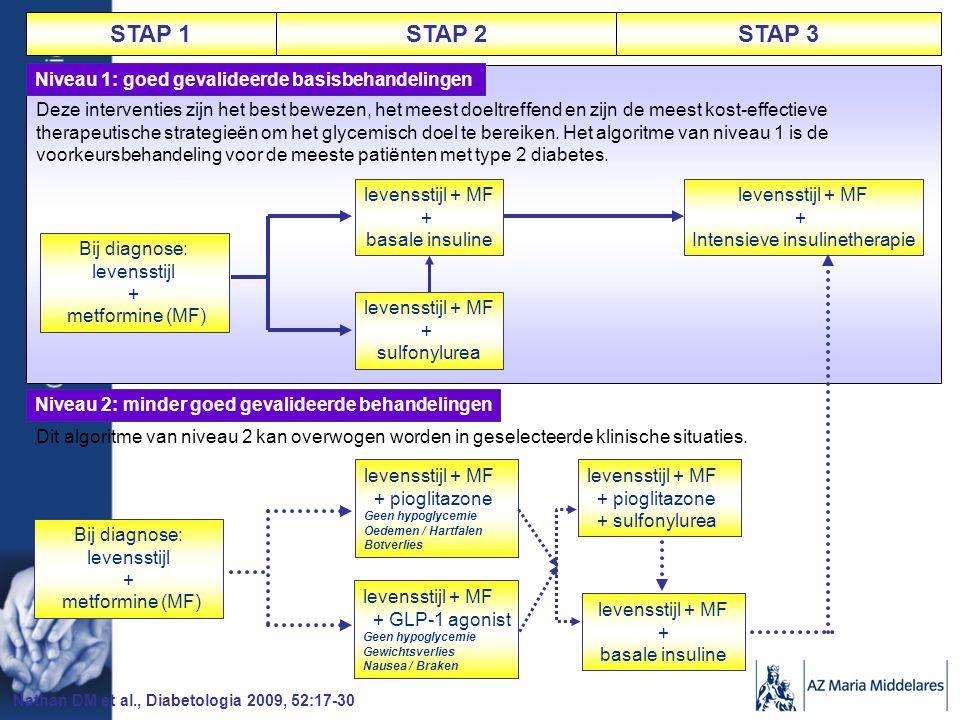 STAP 1STAP 2STAP 3 Niveau 1: goed gevalideerde basisbehandelingen Deze interventies zijn het best bewezen, het meest doeltreffend en zijn de meest kost-effectieve therapeutische strategieën om het glycemisch doel te bereiken.