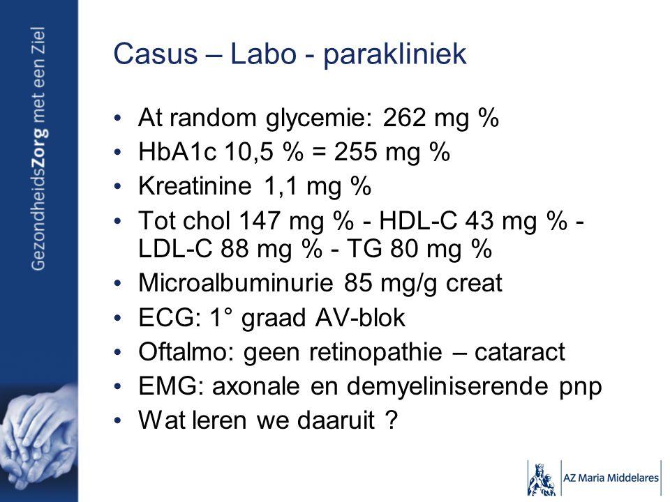 Casus – Labo - parakliniek At random glycemie: 262 mg % HbA1c 10,5 % = 255 mg % Kreatinine 1,1 mg % Tot chol 147 mg % - HDL-C 43 mg % - LDL-C 88 mg % - TG 80 mg % Microalbuminurie 85 mg/g creat ECG: 1° graad AV-blok Oftalmo: geen retinopathie – cataract EMG: axonale en demyeliniserende pnp Wat leren we daaruit ?