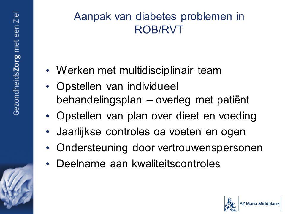 Aanpak van diabetes problemen in ROB/RVT Werken met multidisciplinair team Opstellen van individueel behandelingsplan – overleg met patiënt Opstellen van plan over dieet en voeding Jaarlijkse controles oa voeten en ogen Ondersteuning door vertrouwenspersonen Deelname aan kwaliteitscontroles