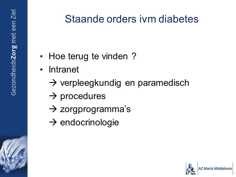Staande orders ivm diabetes Hoe terug te vinden ? Intranet  verpleegkundig en paramedisch  procedures  zorgprogramma's  endocrinologie