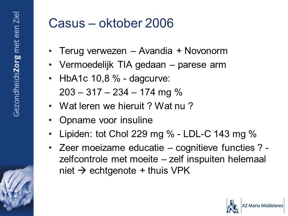 Casus opvolging Onder insuline: minder moe, minder dorst, cognitief beter Mixtard 30 21 + 13 E, Cardioaspirine, Coversyl 4 mg, Simvastatine 20 mg Tot chol 141 mg % - LDL-C 62 mg % - HDL-C 71 mg % - TG 40 mg % HbA1c 9,0 – 7,7 - 7,8 – 7,0 – 8,0 – 7,7 – 8,1 Klinisch: CVA eind 2007 spraak- en begripsstoornissen Wat leren we daaruit ?