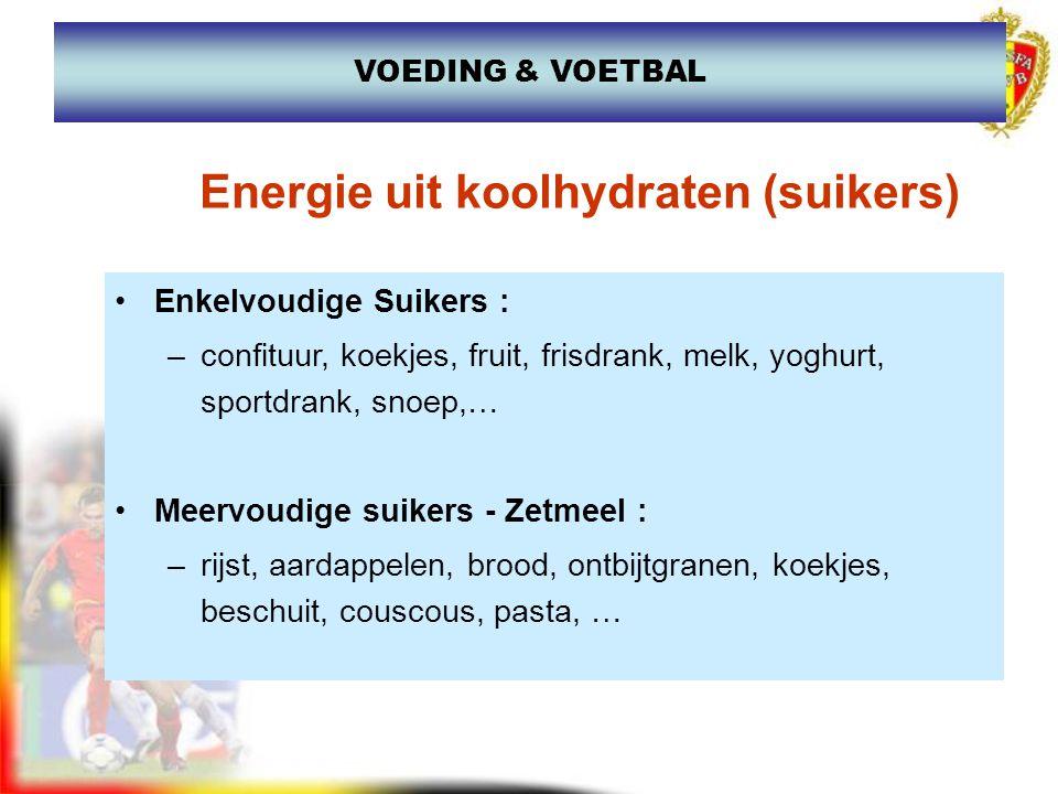 Enkelvoudige Suikers : –confituur, koekjes, fruit, frisdrank, melk, yoghurt, sportdrank, snoep,… Meervoudige suikers - Zetmeel : –rijst, aardappelen,
