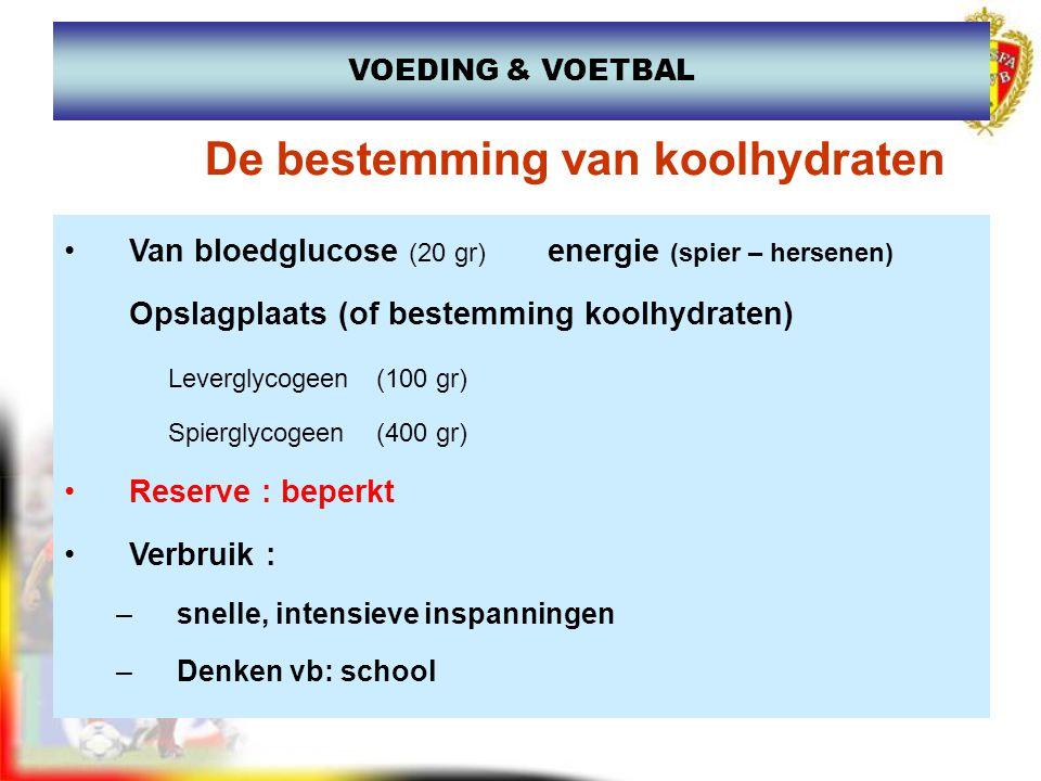 Van bloedglucose (20 gr) energie (spier – hersenen) Opslagplaats (of bestemming koolhydraten) Leverglycogeen (100 gr) Spierglycogeen (400 gr) Reserve