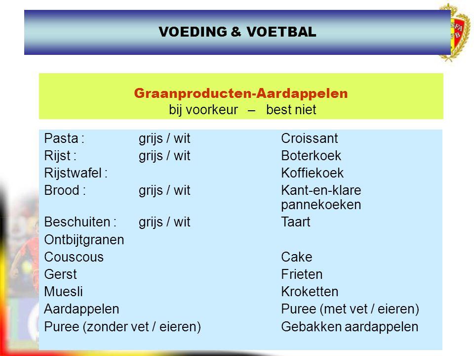 www.joostdesender.be Graanproducten-Aardappelen bij voorkeur – best niet Pasta :grijs / witCroissant Rijst :grijs / witBoterkoek Rijstwafel :Koffiekoe