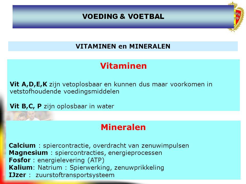 www.joostdesender.be VITAMINEN en MINERALEN Vitaminen Vit A,D,E,K zijn vetoplosbaar en kunnen dus maar voorkomen in vetstofhoudende voedingsmiddelen V