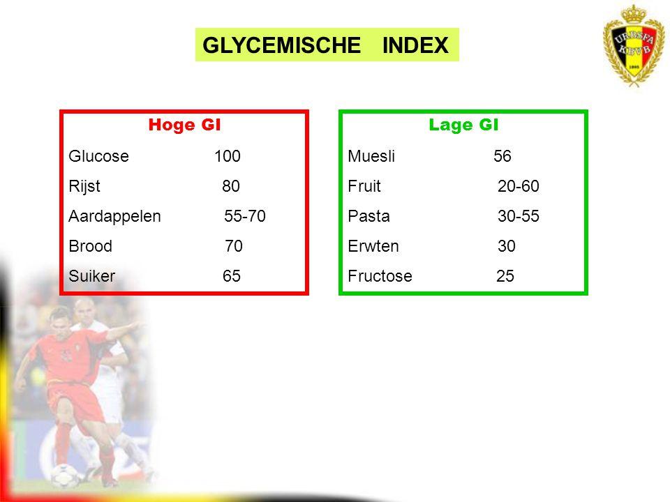 Hoge GI Glucose 100 Rijst 80 Aardappelen 55-70 Brood 70 Suiker 65 Lage GI Muesli 56 Fruit 20-60 Pasta 30-55 Erwten 30 Fructose 25