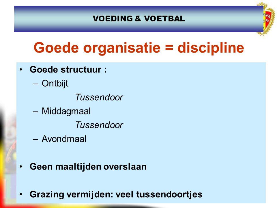 www.joostdesender.be Goede organisatie = discipline Goede structuur : –Ontbijt Tussendoor –Middagmaal Tussendoor –Avondmaal Geen maaltijden overslaan