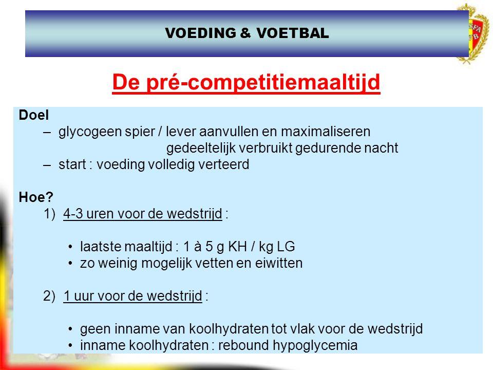 www.joostdesender.be De pré-competitiemaaltijd Doel –glycogeen spier / lever aanvullen en maximaliseren gedeeltelijk verbruikt gedurende nacht –start