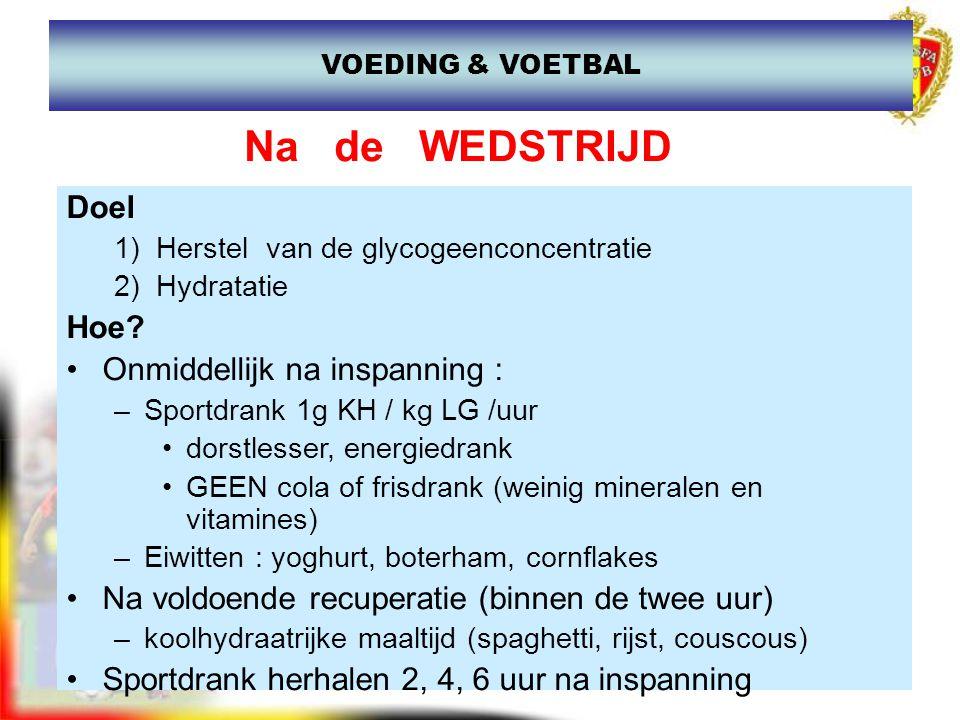 www.joostdesender.be Na de WEDSTRIJD Doel 1) Herstel van de glycogeenconcentratie 2) Hydratatie Hoe? Onmiddellijk na inspanning : –Sportdrank 1g KH /