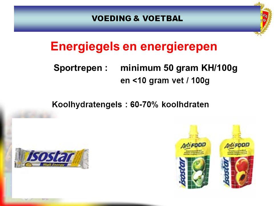 Energiegels en energierepen Sportrepen : minimum 50 gram KH/100g en <10 gram vet / 100g Koolhydratengels : 60-70% koolhdraten VOEDING & VOETBAL