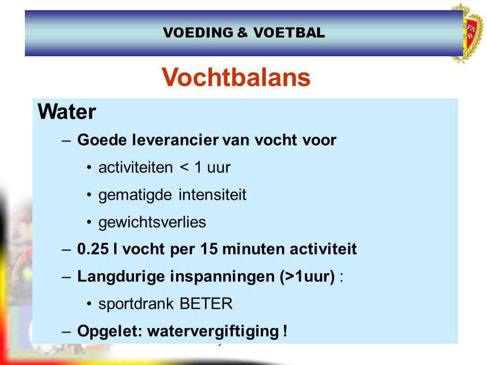 www.joostdesender.be Vochtbalans Water –Goede leverancier van vocht voor activiteiten < 1 uur gematigde intensiteit gewichtsverlies –0.25 l vocht per