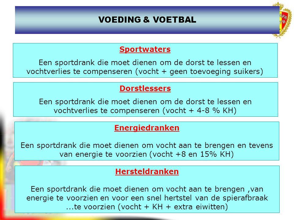 www.joostdesender.be VOEDING & VOETBAL Dorstlessers Een sportdrank die moet dienen om de dorst te lessen en vochtverlies te compenseren (vocht + 4-8 %