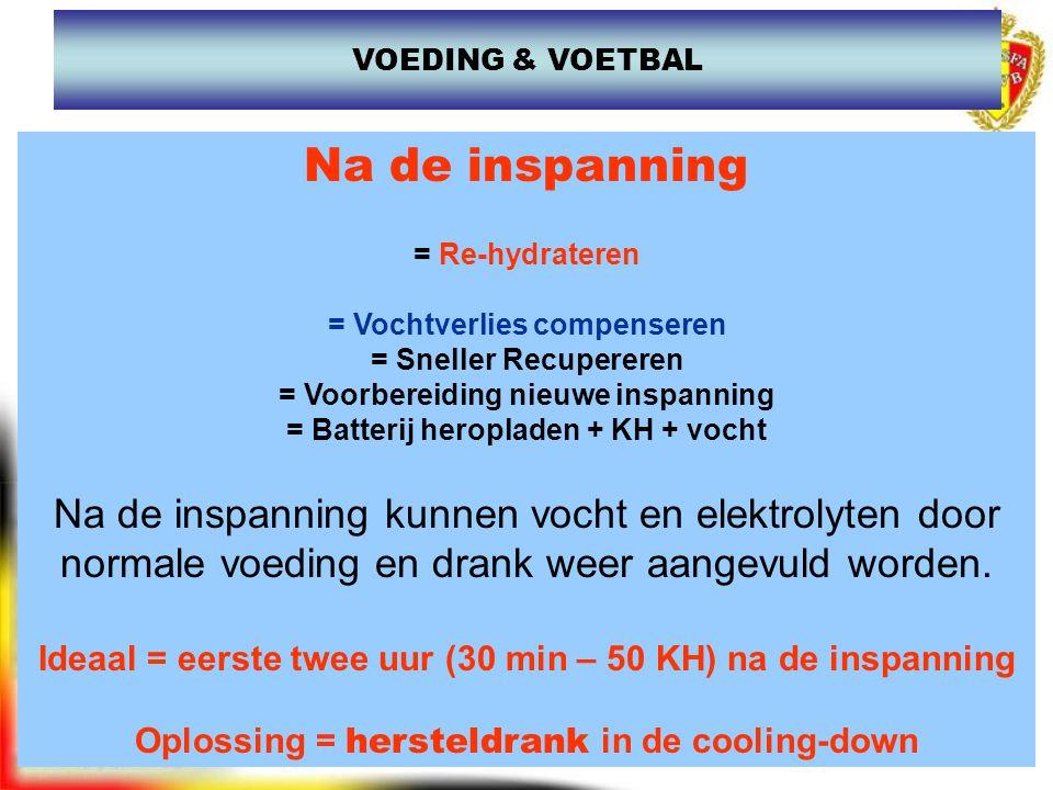 www.joostdesender.be VOEDING & VOETBAL Na de inspanning = Re-hydrateren = Vochtverlies compenseren = Sneller Recupereren = Voorbereiding nieuwe inspan