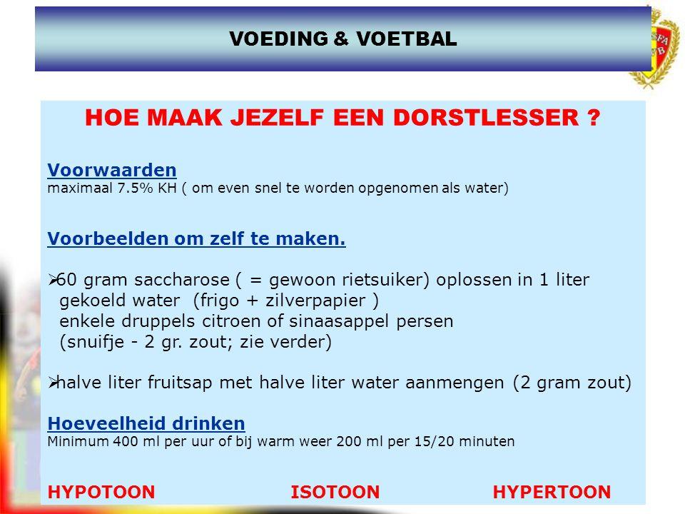 www.joostdesender.be HOE MAAK JEZELF EEN DORSTLESSER ? Voorwaarden maximaal 7.5% KH ( om even snel te worden opgenomen als water) Voorbeelden om zelf
