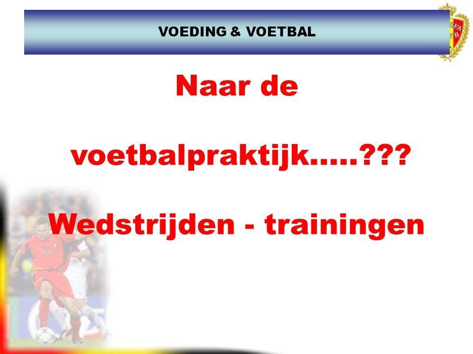 Naar de voetbalpraktijk.....??? Wedstrijden - trainingen VOEDING & VOETBAL