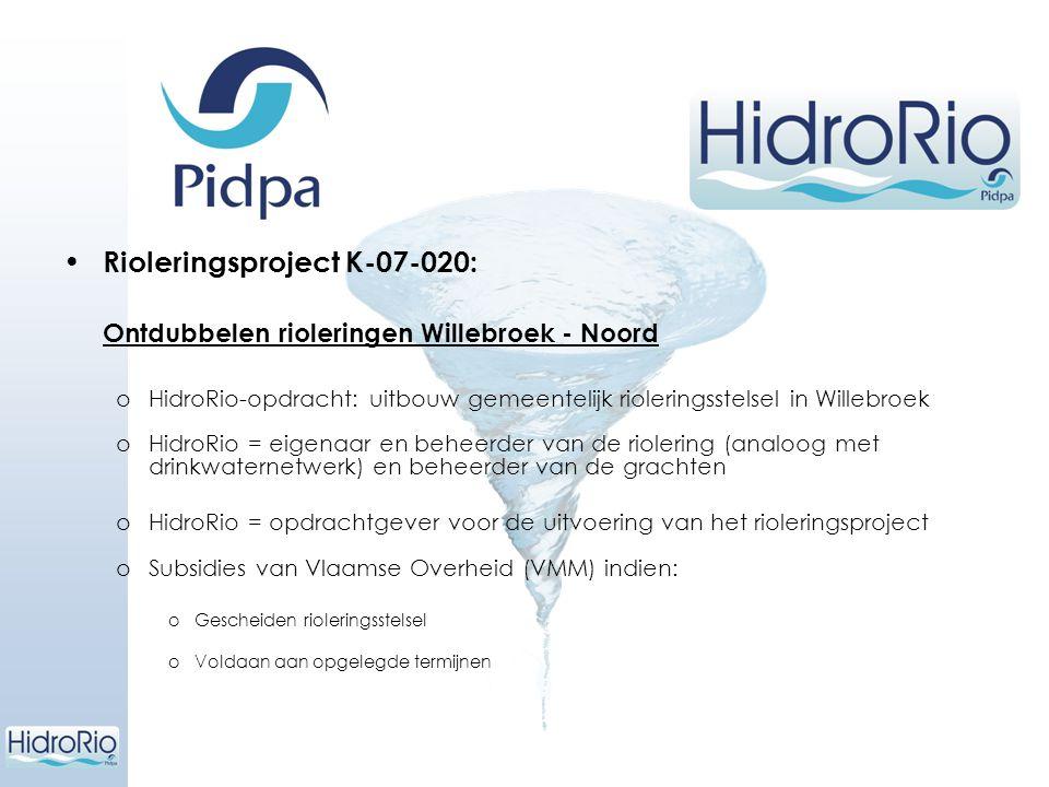 Rioleringsproject K-07-020: Ontdubbelen rioleringen Willebroek - Noord oHidroRio-opdracht: uitbouw gemeentelijk rioleringsstelsel in Willebroek oHidro